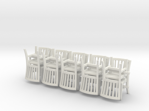 10 1:48 Courtroom Chairs in White Natural Versatile Plastic