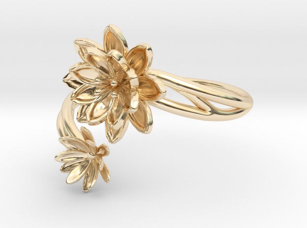 Lotus Lily Pair Ring Size 8--18.2mm in 14K Yellow Gold
