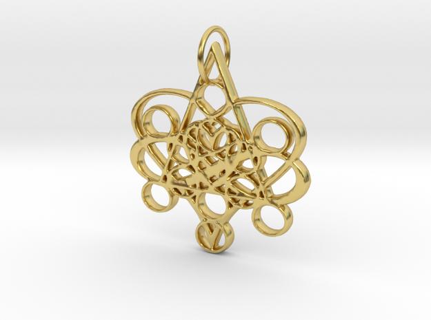 Infinite Heart Pendant in Polished Brass: Medium