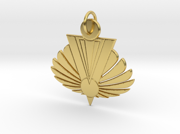 Phoenix Rising Pendant in Polished Brass: Large