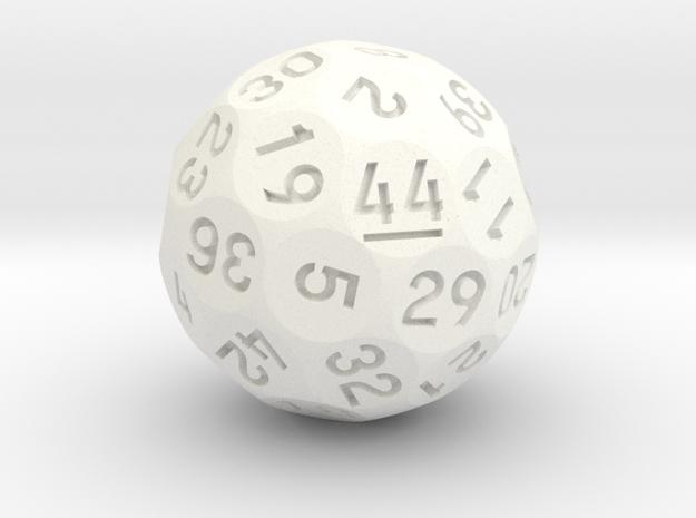 d44 Sphere Dice in White Processed Versatile Plastic