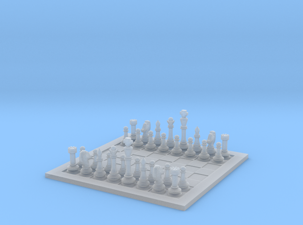 1:20 Scale Chess Board with Pieces in Smooth Fine Detail Plastic