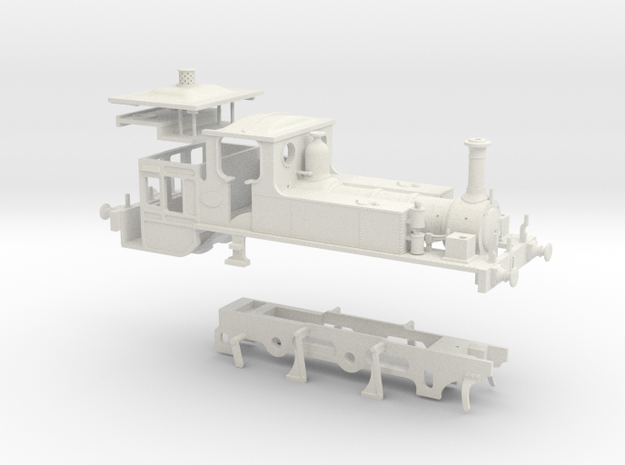 OO Scale LBSCR 'Inspector' Engine (Plain Chassis) in White Natural Versatile Plastic