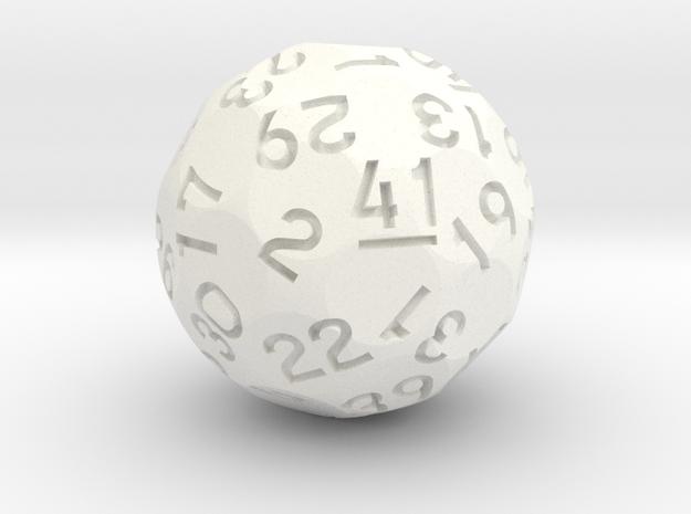 d41 Sphere Dice in White Processed Versatile Plastic