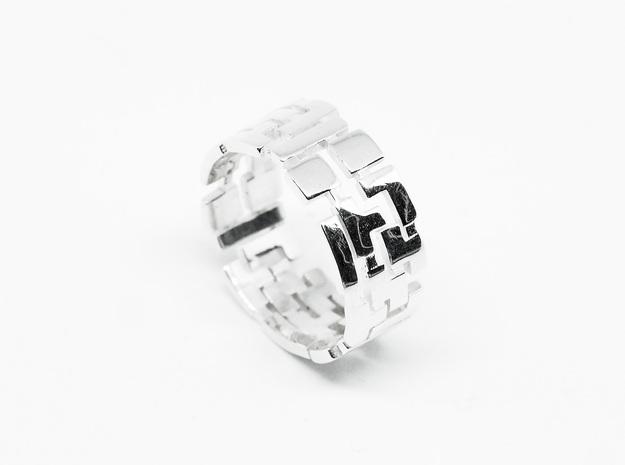 """Ring """"Tetris"""" in Polished Silver: 9 / 59"""