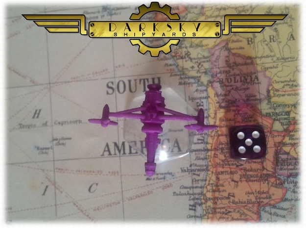 Interceptor1 | Steampunk Airship Miniature in Purple Processed Versatile Plastic