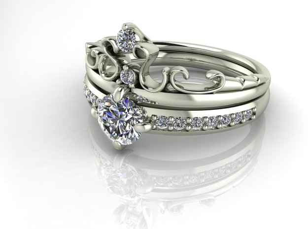 Crown ring Princess 3 NO STONES SUPPLIED in Fine Detail Polished Silver