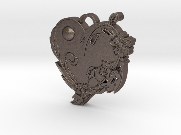 Floral Heart Pendant 3d printed