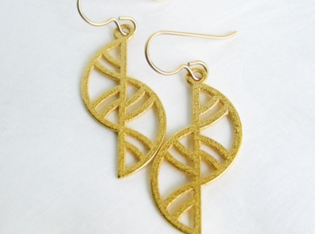 Geometric Earrings - 3D Printed in Metal 3d printed Geometric Trellis Earrings in Raw Bronze