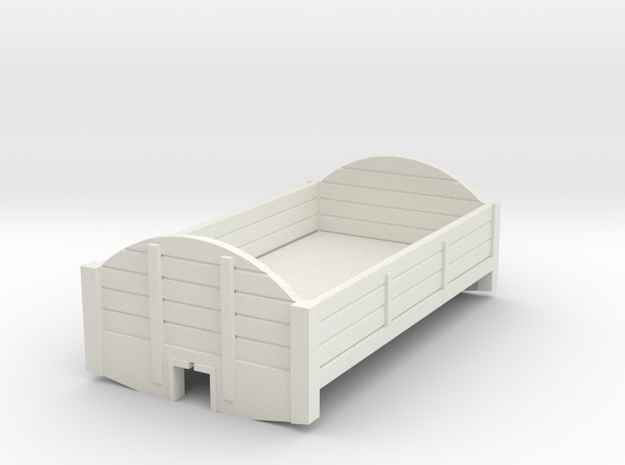 7mm narrow gauge round topped wagon body in White Natural Versatile Plastic