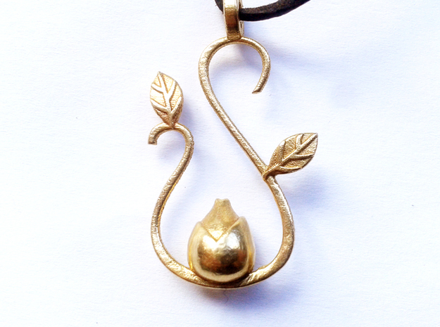 Spring pendant in Raw Brass