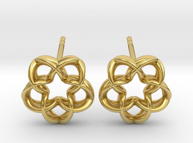 Magic5 Ear Studs in Polished Brass