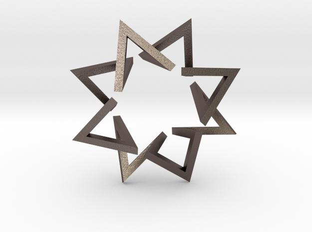 Regular 3D Polygon: (+++---)^4 (medium) in Polished Bronzed-Silver Steel
