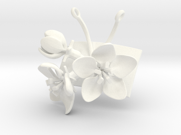 Apple pendant with three large flowers in White Processed Versatile Plastic