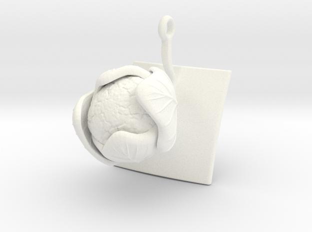 Pendant with one large Cauliflower in White Processed Versatile Plastic