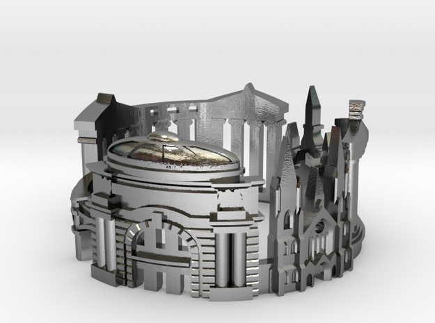 Edinburgh Skyline - Cityscape Ring in Polished Silver: 9 / 59
