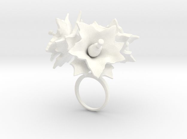 Potato ring with three large flowers in White Processed Versatile Plastic: 7.25 / 54.625