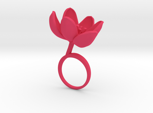 Tulip ring with one large open flower in Pink Processed Versatile Plastic: 7.25 / 54.625
