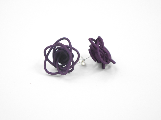 Sprouted Spirals Earrings (Studs) 3d printed Custom Dyed Color (Midnight)