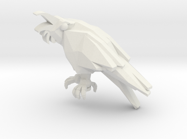 Raven With Wings Folded 1:6 Scale in White Natural Versatile Plastic