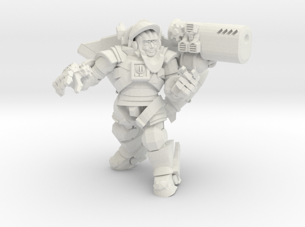 Astroknight Rocketman With Gauss Cannon in White Natural Versatile Plastic