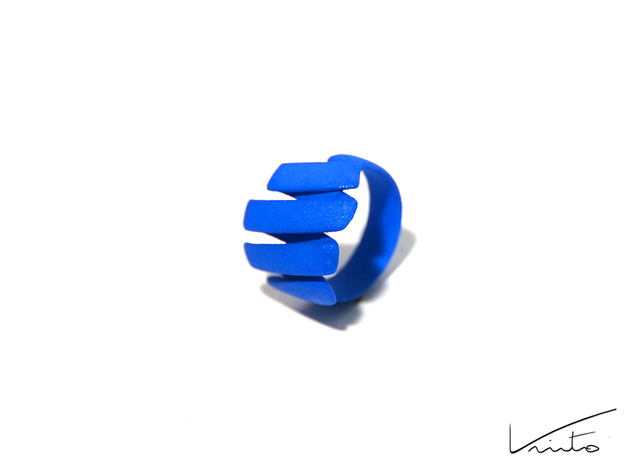 Curl ring 4 parallel lines // US8 - LARGE 3d printed Blue Strong & Flexible