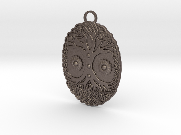 Celtic Tree Pendant in Polished Bronzed Silver Steel