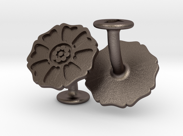 White Lotus Cufflinks (Avatar the Last Airbender) in Polished Bronzed-Silver Steel