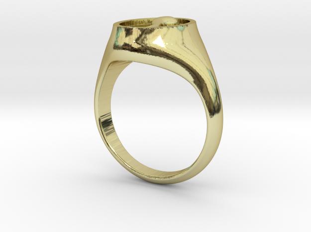 Horn Italia Signet Ring in 18k Gold Plated Brass