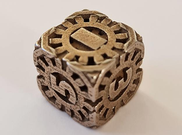 Steampunk D6 hollow in Polished Bronzed-Silver Steel: d6