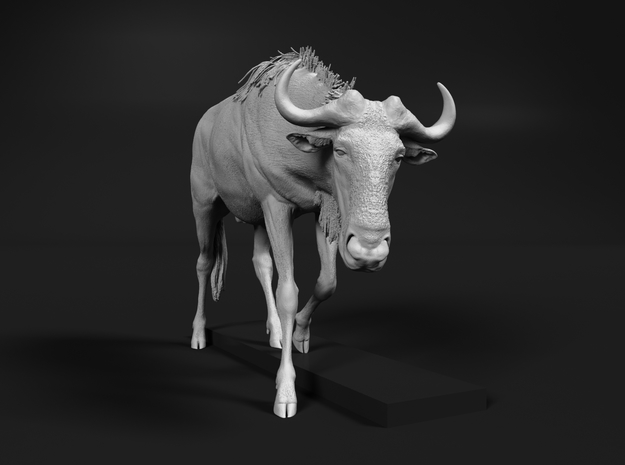 Blue Wildebeest 1:35 Male on uneven surface 1 in White Natural Versatile Plastic