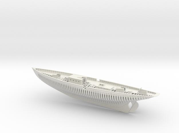 Schooner Zodiac Half Model in White Natural Versatile Plastic