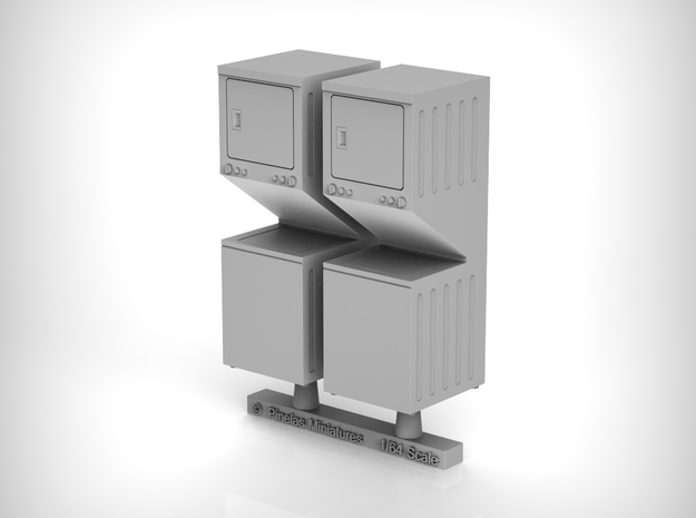 Washer Dryer Combo 01. 1:64 Scale (S) in Smooth Fine Detail Plastic
