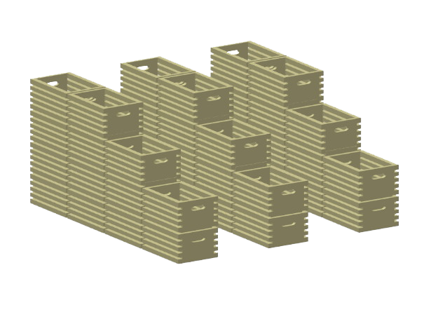 Food Crate Stacks in Smooth Fine Detail Plastic: 1:87 - HO