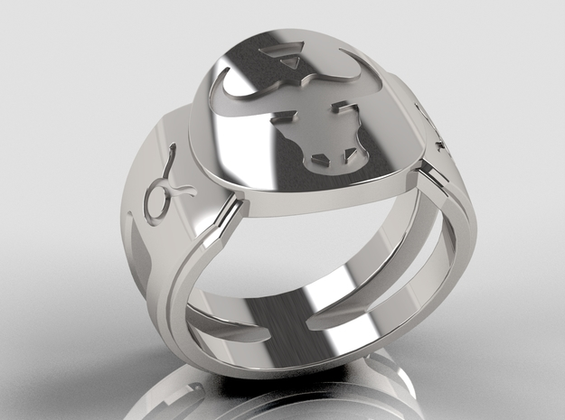 Taurus Signet Ring Lite in Polished Silver: 10 / 61.5