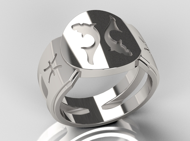 Pisces Signet Ring Lite in Polished Silver: 10 / 61.5