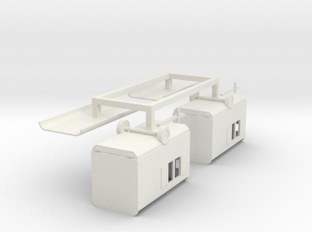 2 construction trailers (1:87) in White Natural Versatile Plastic