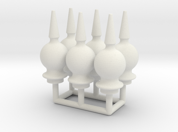 Finial Semaphore Solid Ball Spike 1-19 scale pack  in White Natural Versatile Plastic
