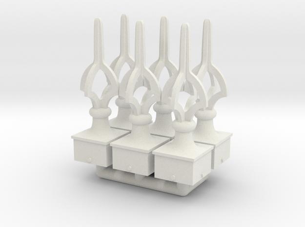 Finial Semaphore Open Cruciform 1-19 scale pack in White Natural Versatile Plastic