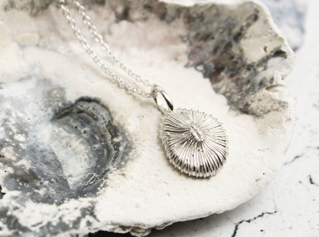 Fungia Coral Pendant in Polished Silver