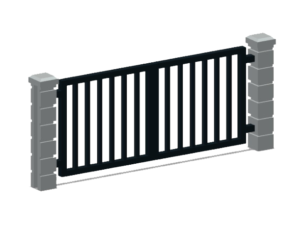 Block Wall - Rod Iron Vehicle Gate-1 in White Natural Versatile Plastic: 1:87 - HO