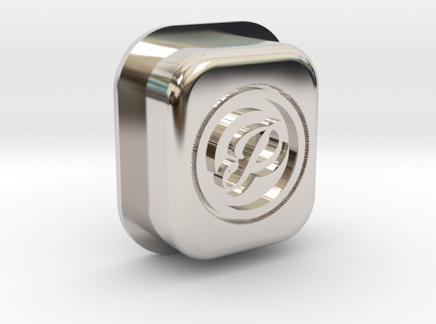 P LOGO v1 MECH SQUONK BUTTON  in Rhodium Plated Brass