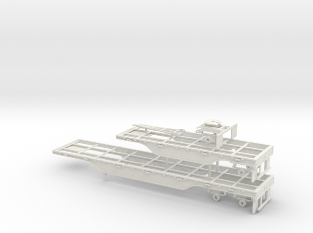 1/50th Outside Frame 40' 20' Flatbed A train set in White Natural Versatile Plastic