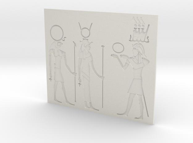 Hieroglyphs bas-relief in White Natural Versatile Plastic