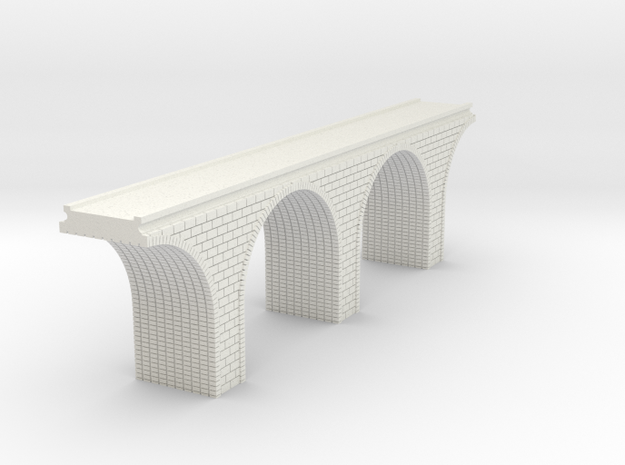 N Scale Arch Bridge Double Track 1:160 Scale in White Natural Versatile Plastic