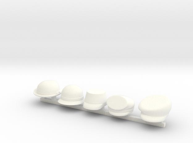 5 x 19thCentury 2 in White Processed Versatile Plastic