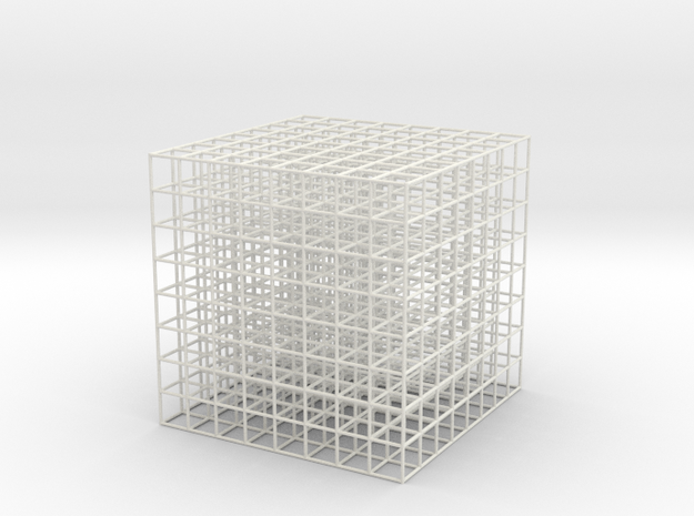 Mesh Cube 81mm in White Strong & Flexible