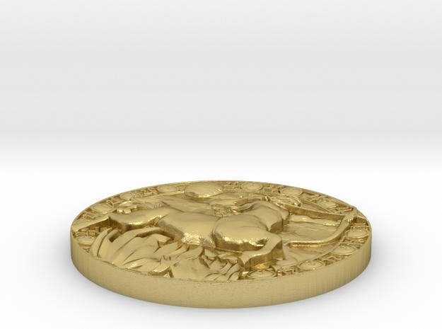 Sagittarius-Medaillon.-Gewindemutter in Natural Brass