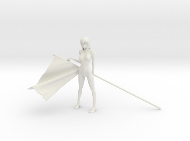 1/16 Race Queen with Flag Pose #5 in White Natural Versatile Plastic