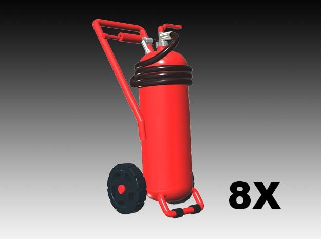 Wheeled fire extinguisher - 1:87 - 8X in Smooth Fine Detail Plastic